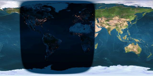 The shadowed area represents where the eclipse will be visible. Image Credit: EarthSky