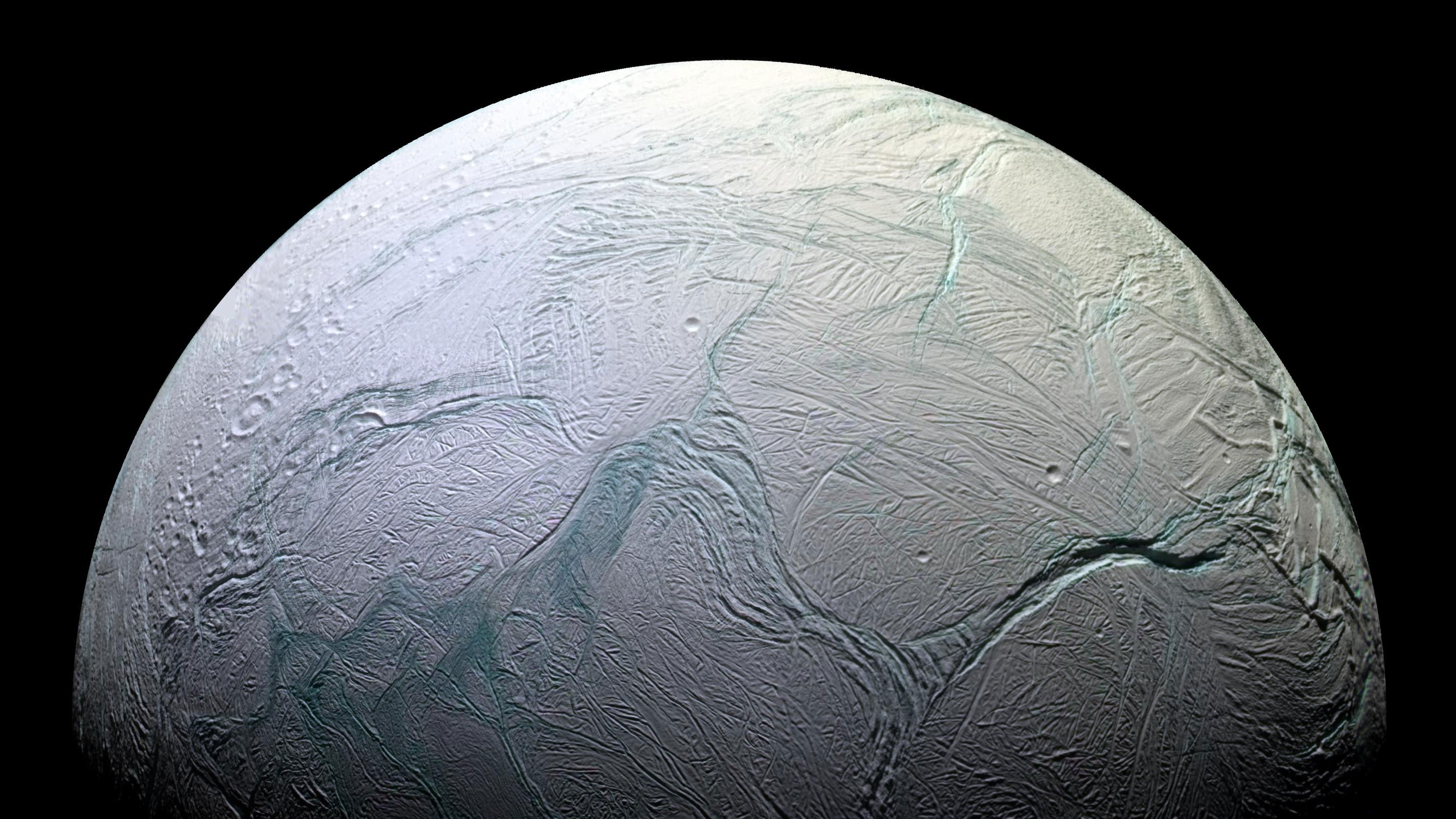 Saturn's moon, Enceladus. Credit: NASA/JPL/Space Science Institute