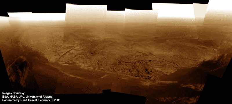 A panorama of the shoreline where Huygens touched down on Titan, stitched from DISR Side-Looking and Medium-Resolution Imager Raw Data. Image Credit: ESA / NASA / JPL / University of Arizona / Rene Pascal (panorama)