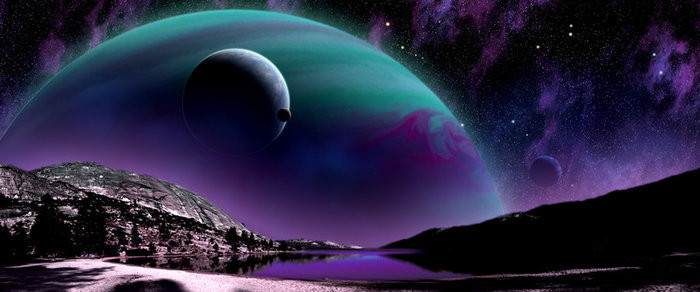 Artist's rendition of life on an exoplanet.