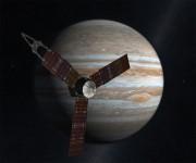 Artistic portrayal of Juno and Jupiter. Image credit: NASA.