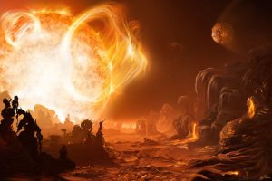 A scorching exoplanet. Artists conception by Inga Nielsen.