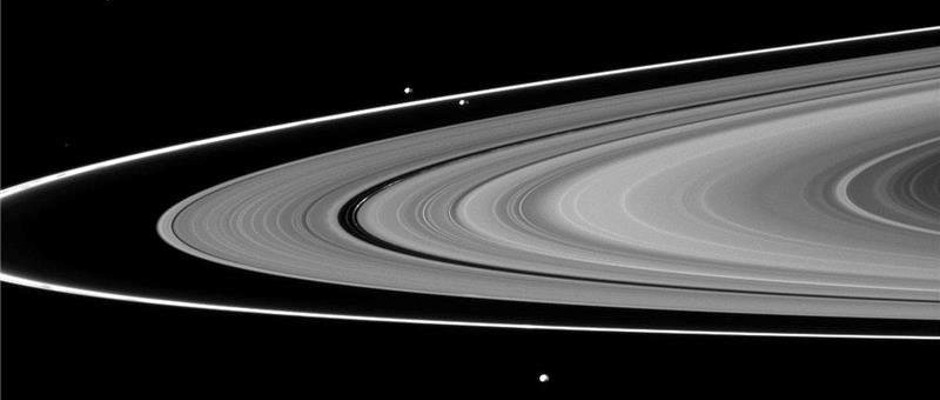 The F ring appears as the thin, outermost ring in the system. Image credit: NASA / Kobe University.