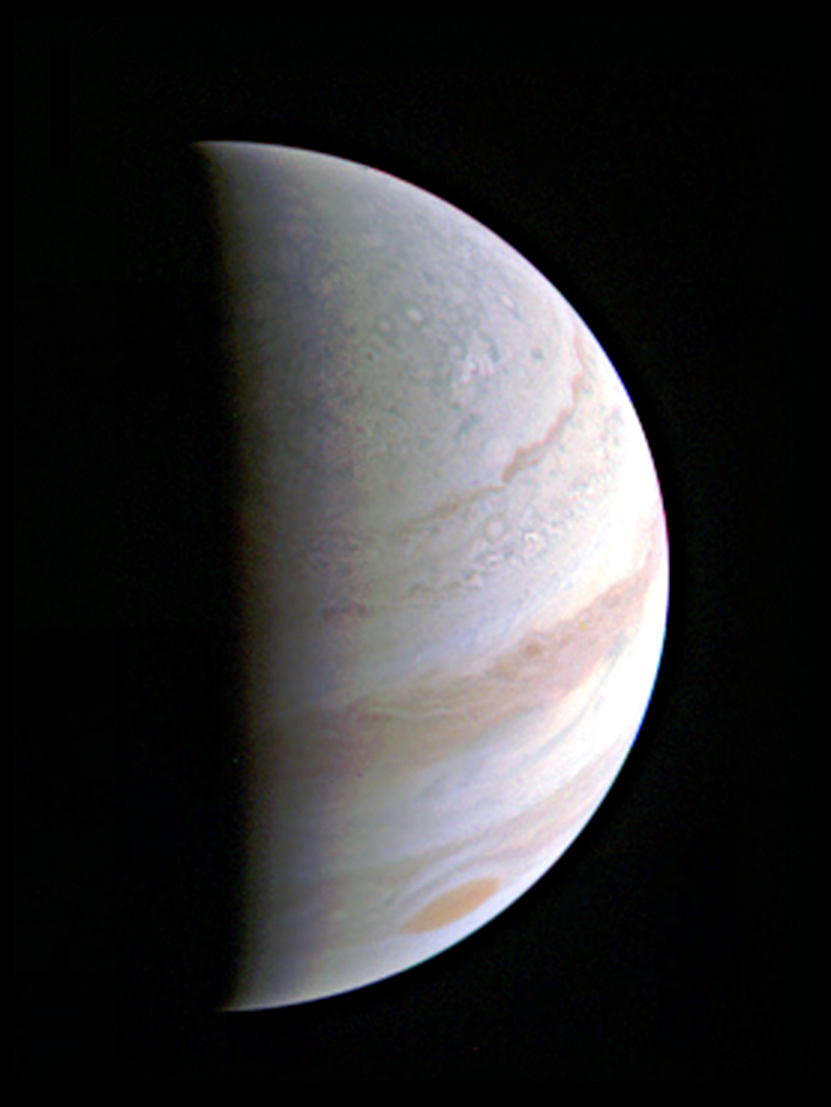 Juno captures a glimpse of Jupiter's North Pole. Image credit: NASA/JPL-Caltech/SwRI/MSSS