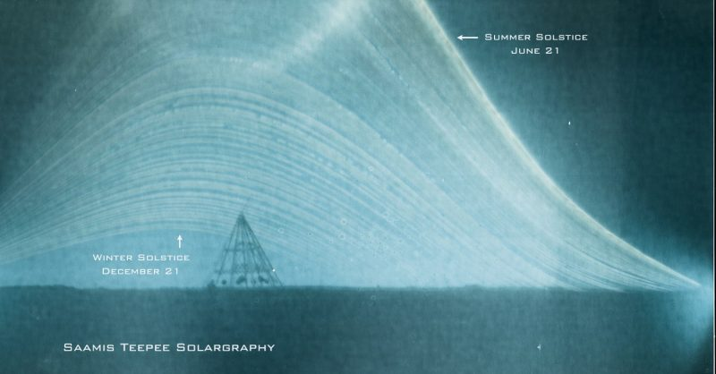 A solargraphy of the Sun's path between the June summer solstice and the December winter solstice. Image Credit: Ian Hennes.